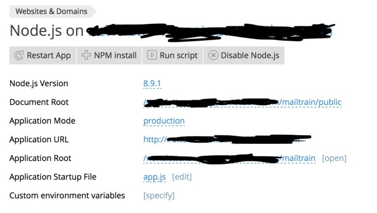 configuring the Node.js settings