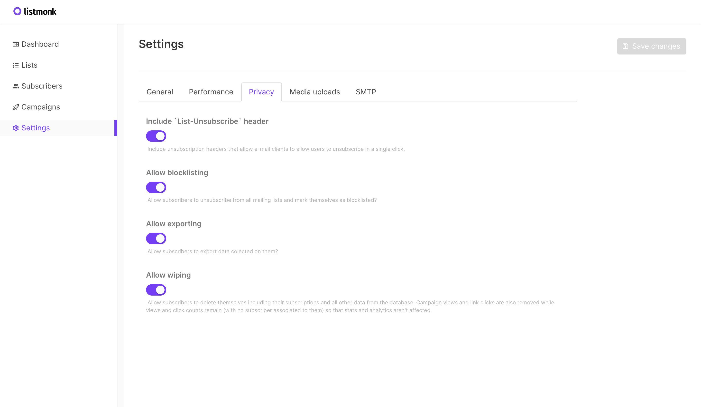 Listmonk settings - Privacy tab